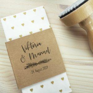 Stempel Hochzeit - Individuell mit Namen & Hochzeitsdatum - Serie: Greenery