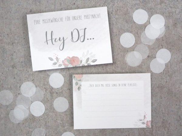 DJ / Musikwunschkarten Flowerlove Hochzeit
