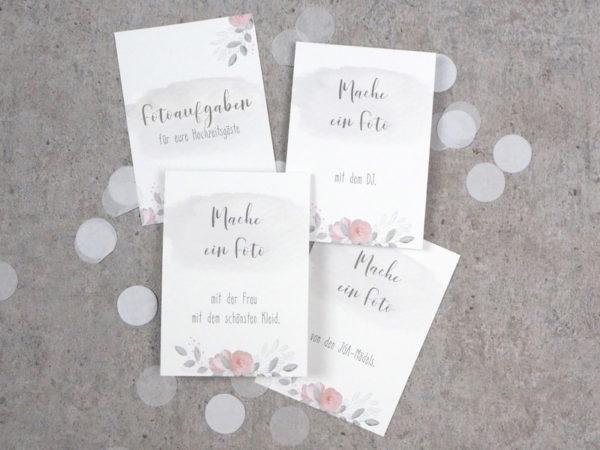 """Spiel mit Fotoaufgaben für Hochzeitsgäste """"Flowerlove"""" · 25 Stück"""