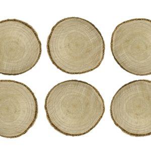 Kleine Holzscheiben Tischkarten · Untersetzer · 6 Stück