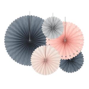 Papierfächer · Rosette Grau-Rosa-Mix · 5 Stück