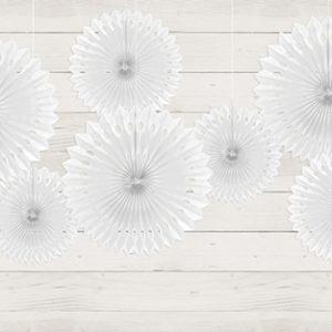 Papierfächer · Rosette Weiß · 3 Stück