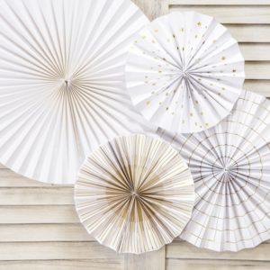Papierfächer · Rosette weiß/gold