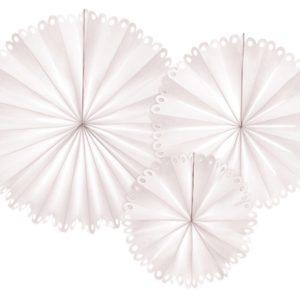 Papierfächer · Rosette · Weiß · mit Lochmuster · 3 Stück