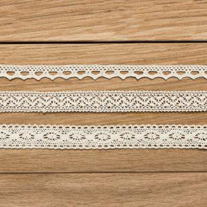 Spitzenborte Creme Set 2 3 Bänder · je 1,5m