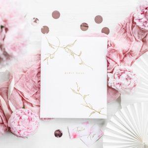 """Gästebuch Weiß """"Floral Gold"""""""