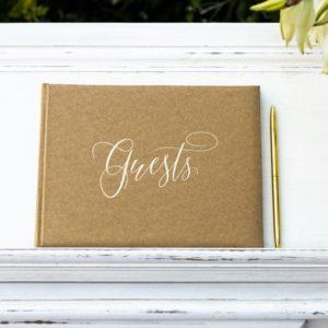 "Gästebuch Kraftkarton Gold ""Guests"""