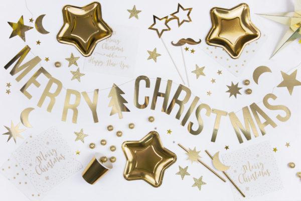 "Girlande ""Merry Christmas"" · gold glänzend"