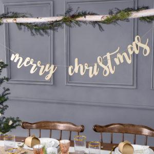 Girlande · Merry Christmas · aus Holz