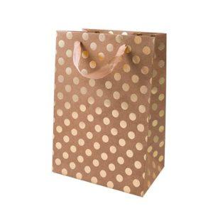 Geschenktüte Kraftkarton mit goldenen Punkten