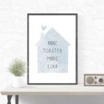 Individualisiertes Poster Haus – Blau/Grau