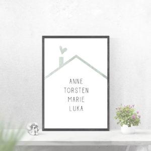 Individualisiertes Poster Familie - Grün
