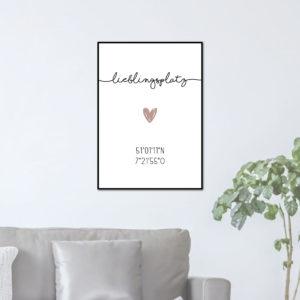 Individualisiertes Poster Lieblingsplatz - Nude