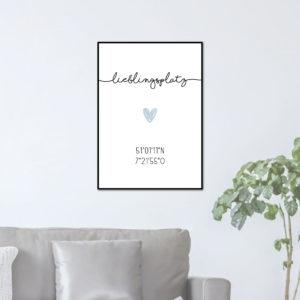 Individualisiertes Poster Lieblingsplatz - Blau/Grau