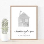 Individualisiertes Poster Haus mit Koordinaten - Grau
