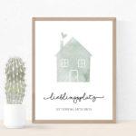 Individualisiertes Poster Haus mit Koordinaten – Grün
