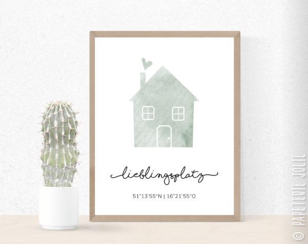 Individualisiertes Poster Haus mit Koordinaten - Grün