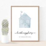 Individualisiertes Poster Haus mit Koordinaten - Blau/Grau