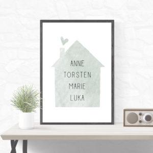 Individualisiertes Poster Haus - Grün