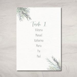 """10 Tischkarten """"Greenery"""" mit Tischnummer und Gästenamen"""