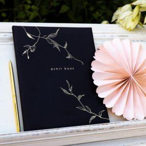 """Gästebuch Schwarz """"Floral Gold"""""""