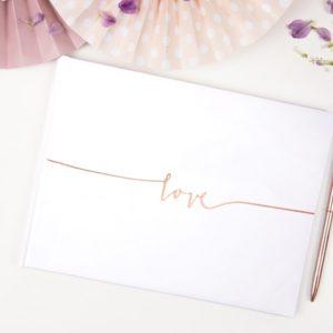 """Gästebuch Weiß mit Rosegold """"Love"""""""