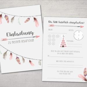 Kindergeburtstag Einladung - 5 Stück - Boho Indianer Federn - rosa