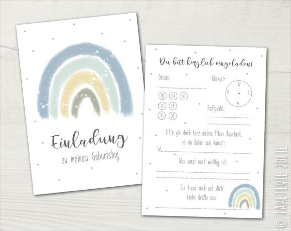 Einladung Kindergeburtstag · 5 Stück · Regenbogen · blau