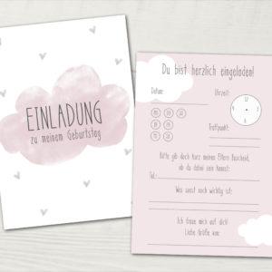 Einladung Kindergeburtstag · 5 Stück ·Wolke · rosa