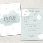 Kindergeburtstag Einladung - 5 Stück - Wolke - Blau