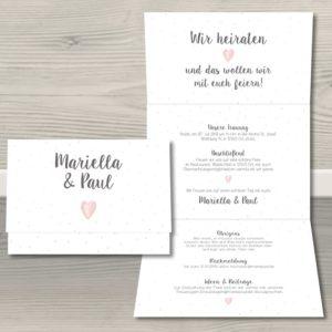 """Hochzeitseinladung """"Konfettiherz"""""""