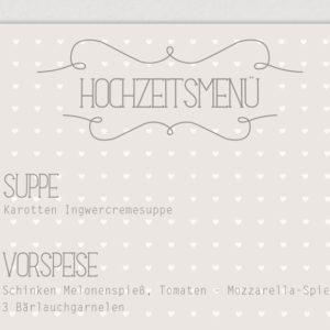 """Menü- & Getränkekarte """"Herzchen"""""""