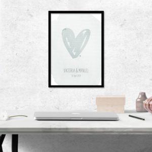 Poster - Herz - Blaugrün