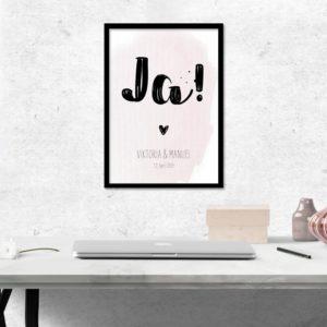 "Poster -""JA!"" - Rosa"