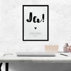 "Poster -""JA!"" - Blaugrün"