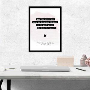 Individualisiertes Poster zur Hochzeit- Was für ein Glück - Hochzeitsgeschenk-rosa