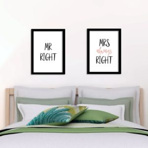 Poster Schlafzimmer- Mr right - Mrs always right