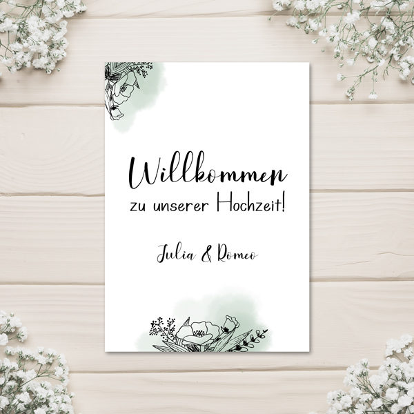 "Poster - ""Willkommen"" - Floral green"