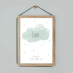 Poster - Wolke - grau/grün