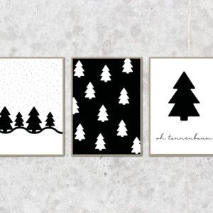 Weihnachtsposter - Oh Tannenbaum - 3er Set