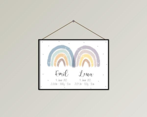 "Poster Zwillinge personalisierbar ""Regenbogen"" Blau-Lila"