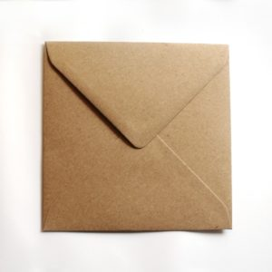 Umschlag quadratisch Kraftpapier Naturbraun 155x155mm