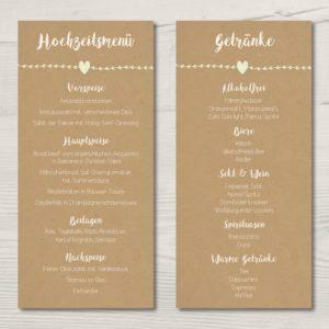 """Menü- & Getränkekarte """"Vintage Green"""""""